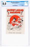 Platinum Age (1897-1937):Miscellaneous, Mickey Mouse Magazine V1#1 (Walt Disney Productions, 1933) CGC VF 8.0 White pages....