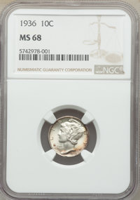 1936 10C MS68 NGC. NGC Census: (4/0). PCGS Population: (9/0). Mintage 87,504,128