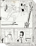 """Original Comic Art:Complete Story, Dan DeCarlo and Rudy Lapick Archie's Girls Betty and Veronica #124 5-Page Complete Story """"Contact Sport"""" Original ... (Total: 5 Original Art)"""