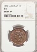 1857 1C Large Date, N-1, R.1, MS66 Red and Brown NGC