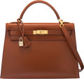Luxury Accessories:Bags, Hermès 32cm Noisette Calf Box Leather Sellier Kelly Shoulder Bag with Gold Hardware. E Square, 2001. Condition: 3. ...