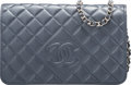 """Luxury Accessories:Bags, Chanel Gray Metallic Leather CC Wallet on Chain with Silver Hardware. Condition: 1. 7.5"""" Width x 5"""" Height x 1.5"""" Dept..."""
