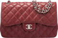 "Luxury Accessories:Bags, Chanel Dark Red Quilted Caviar Leather Jumbo Double Flap Bag. Condition: 2. 10"" Width x 6"" Height x 2.5"" Depth. ..."