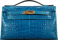 "Luxury Accessories:Bags, Hermès Shiny Mykonos Alligator Kelly Pochette Bag with Gold Hardware. A, 2017. Condition: 1. 8.5"" Width x 5"" Heigh..."