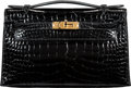 """Luxury Accessories:Bags, Hermès Shiny Black Alligator Kelly Pochette Bag with Gold Hardware. A, 2017. Condition: 1. 8.5"""" Width x 5"""" Height ..."""