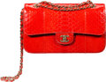 "Luxury Accessories:Bags, Chanel Red Python Medium Double Flap Bag with Gold Hardware. Condition: 3. 10"" Width x 6"" Height x 3"" Depth. ..."