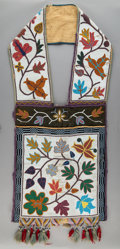 American Indian Art:Beadwork and Quillwork, A Great Lakes Beaded Cloth Bandolier Bag...