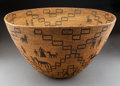 American Indian Art:Baskets, A Large Apache Pictorial Coiled Bowl...