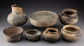 American Indian Art:Pottery, Seven Mississippian Pottery Vessels... (Total: 7 )
