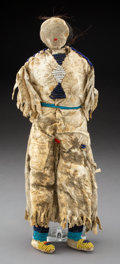 American Indian Art:Beadwork and Quillwork, A Pawnee Beaded Hide Female Doll...