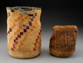 American Indian Art:Baskets, Two Wasco-Wishram Sally Bags... (Total: 2 )