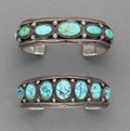 American Indian Art:Jewelry and Silverwork, Two Navajo Row Bracelets... (Total: 2 )