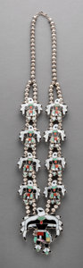 American Indian Art:Jewelry and Silverwork, A Zuni Squash Blossom Necklace...