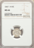 Seated Half Dimes: , 1847 H10C MS66 NGC. NGC Census: (15/3). PCGS Population: (14/5). CDN: $1,800 Whsle. Bid for NGC/PCGS MS66. Mintage 1,274,00...