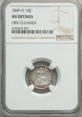 Seated Dimes, 1849-O 10C -- Obverse Improperly Cleaned -- NGC Details. AU. NGC Census: (7/40). PCGS Population: (14/27). CDN: $600 Whsle....