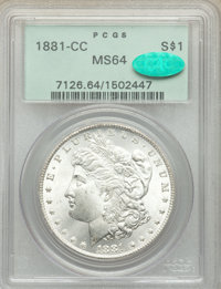 1881-CC $1 MS64 PCGS. CAC. PCGS Population: (8310/6862). NGC Census: (3917/3061). CDN: $460 Whsle. Bid for problem-free...