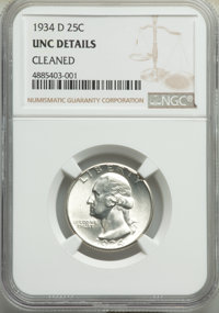 1934-D 25C Medium Motto -- Cleaned -- NGC Details. UNC. NGC Census: (2/1073). PCGS Population: (6/1480). CDN: $140 Whsle...