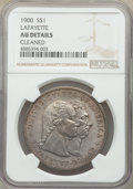 Commemorative Silver, 1900 $1 Lafayette Dollar -- Cleaned -- NGC Details. AU. NGC Census: (12/2482). PCGS Population: (73/3603). CDN: $350 Whsle....