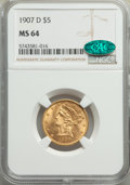 1907-D $5 MS64 NGC. CAC. NGC Census: (527/118). PCGS Population: (620/155). MS64. Mintage 888,000