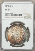 1885-O $1 MS64 NGC. NGC Census: (94694/35134). PCGS Population: (77027/24640). MS64. Mintage 9,185,000