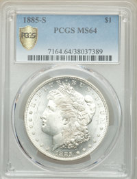 1885-S $1 MS64 PCGS. PCGS Population: (2706/711). NGC Census: (1403/255). CDN: $525 Whsle. Bid for problem-free NGC/PCGS...