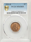 1911-S 1C MS65 Red and Brown PCGS. PCGS Population: (91/2 and 6/0+). NGC Census: (60/5 and 0/0+). CDN: $850 Whsle. Bid f...