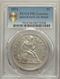 1871 $1 -- Altered Surfaces -- PCGS Genuine. AU Details. NGC Census: (0/158 and 0/1+). PCGS Population: (3/247 and 0/3+)...