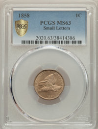 1858 1C Small Letters MS63 PCGS. PCGS Population: (231/474 and 3/25+). NGC Census: (195/369 and 3/4+). CDN: $850 Whsle...