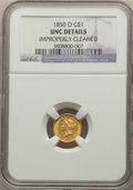 1850-O G$1 -- Improperly Cleaned -- NGC Details. UNC. NGC Census: (9/71). PCGS Population: (0/37). CDN: $2,400 Whsle. Bi...