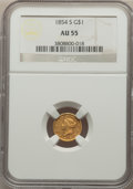 Gold Dollars: , 1854-S G$1 AU55 NGC. NGC Census: (25/112). PCGS Population: (29/83). CDN: $1,450 Whsle. Bid for problem-free NGC/PCGS AU55....