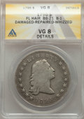 1795 $1 Flowing Hair, Two Leaves, BB-21, B-1 -- Damaged, Repaired, Whizzed -- ANACS. VG8 Details. CDN: $2,200 Whsle. Bid...