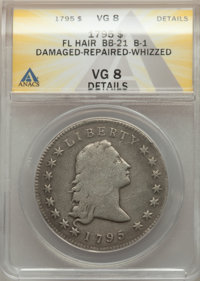 1795 $1 Flowing Hair, Silver Plug -- Damaged, Repaired, Whizzed -- ANACS. VG8 Details. Two Leaves, B-1, BB-21. The outl...