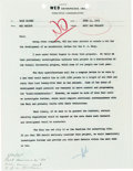 Memorabilia:Disney, Rare Inter-Office Memo to Walt Disney Group of 2 (Walt Disney, 1965).... (Total: 2 Items)