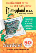 Memorabilia:Poster, Disneyland Souvenir Park Map Sunkist Store Display (Walt Disney, 1962).... (Total: 3 Items)