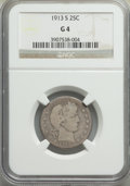 1913-S 25C Good 4 NGC. NGC Census: (110/218). PCGS Population: (295/769). CDN: $1,050 Whsle. Bid for problem-free NGC/PC...