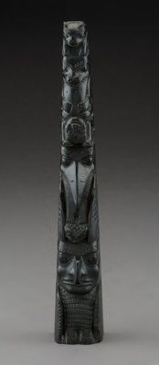 A Haida Carved Argillite Model Totem Pole