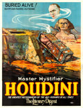"Movie Posters:Miscellaneous, Houdini ""Buried Alive!"" (Otis Litho, 1926). Fine on Linen. Eight Sheet (81"" X 105"").. ..."