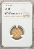 Indian Quarter Eagles: , 1914 $2 1/2 MS61 NGC. NGC Census: (1966/3656). PCGS Population: (475/2357). CDN: $500 Whsle. Bid for problem-free NGC/PCGS ...
