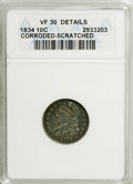 Bust Dimes: , 1834 10C Small 4--Corroded, Scratched--ANACS. VF30 Details. NGCCensus: (10/234). PCGS Population (1/159). Mintage: 635,000...