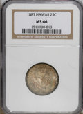 Coins of Hawaii: , 1883 25C Hawaii Quarter MS66 NGC. NGC Census: (52/4). PCGSPopulation (62/9). Mintage: 500,000. (#10987)...