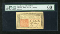 New Jersey March 25, 1776 6s PMG Gem Uncirculated 66EPQ. An enormously margined example of this popular New Jersey issue...