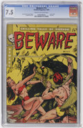 Golden Age (1938-1955):Horror, Beware #12 (Youthful Magazines, 1952) CGC VF- 7.5 Cream tooff-white pages....