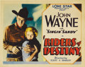 "Movie Posters:Western, Riders of Destiny (Monogram, 1933). Title Lobby Card (11"" X 14"").Between 1933 and 1935, John Wayne made sixteen ""B"" oaters ..."