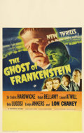 "Movie Posters:Horror, Ghost of Frankenstein (Universal, 1942). Window Card (14"" X 22""). Bela Lugosi stars as Ygor, Dr. Frankenstein's assistant wh..."