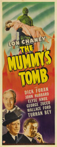 "Movie Posters:Horror, The Mummy's Tomb (Universal, 1942). Insert (14"" X 36""). Lon Chaney,Jr. makes his first appearance as the resurrected Mummy ..."