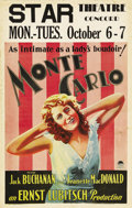 """Movie Posters:Comedy, Monte Carlo (Paramount, 1930). Window Card (14"""" X 22""""). It doesn'tget much better than Ernst Lubitsch and Jeanette MacDonal..."""
