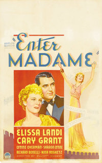 "Enter Madame (Paramount, 1935). Window Card (14"" X 22""). Cary Grant plays a millionaire who falls under the sp..."