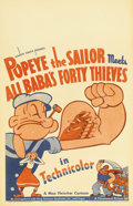 "Movie Posters:Animated, Popeye the Sailor Meets Ali Baba's Forty Thieves (Paramount, 1937).Window Card (14"" X 22""). Bluto (here called Abu Hassan) ..."