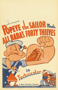 "Popeye the Sailor Meets Ali Baba's Forty Thieves (Paramount, 1937). Window Card (14"" X 22""). Bluto (here calle..."