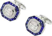Diamond, Sapphire, White Gold Cuff Links